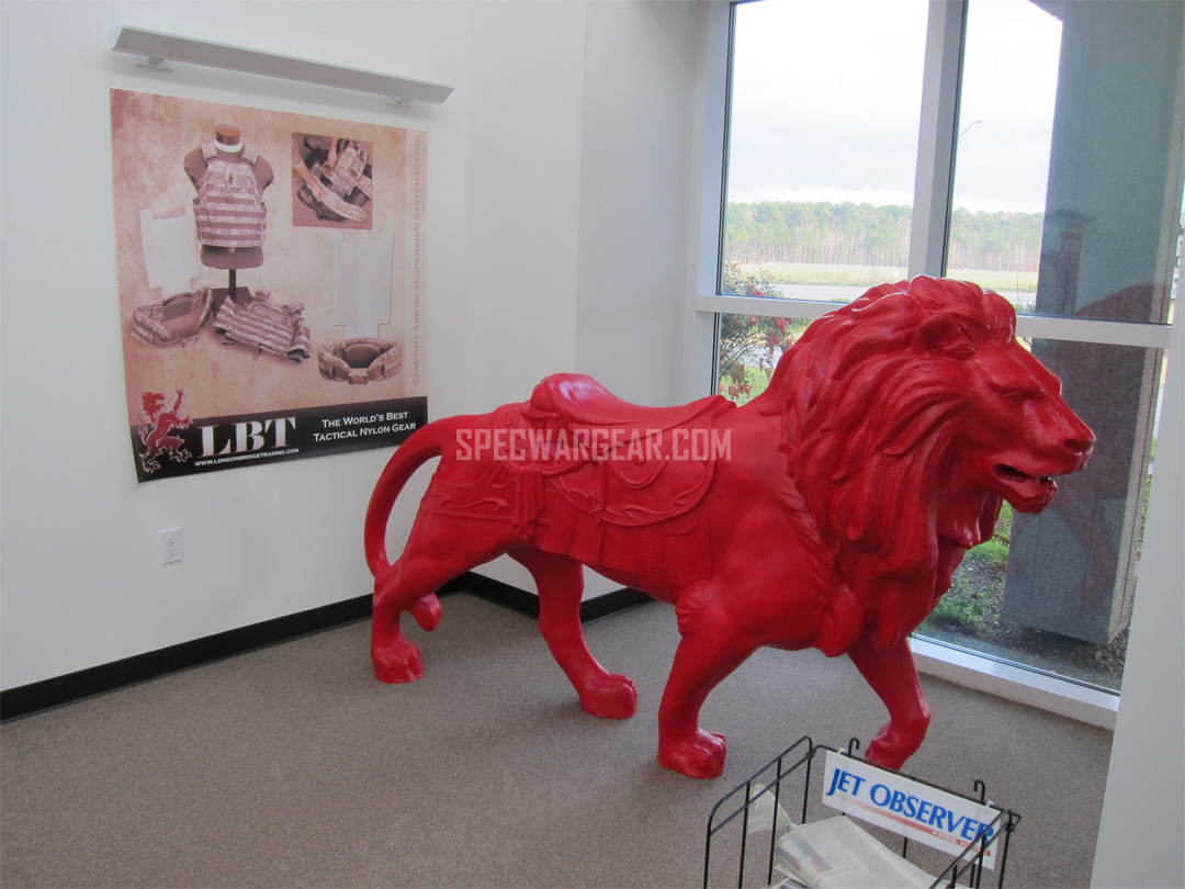 Iconic red lion statue of LBT