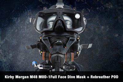 Kirby Morgan M48 MOD-1Full Face Dive Mask + Rebreather POD