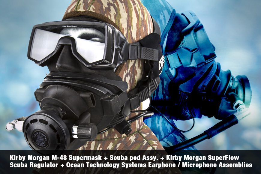 Kirby Morgan M-48 Supermask + Scuba pod Assy. + Kirby Morgan SuperFlow Scuba Regulator + Ocean Technology Systems Earphone / Microphone Assemblies